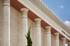 Architecture detail of columns temple of Solomo in Sao Paulo. Royalty Free Stock Images