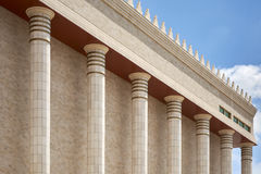 Architecture detail of columns temple of Solomo in Sao Paulo. Royalty Free Stock Image
