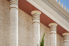 Architecture detail of columns temple of Solomon in Sao Paulo. Royalty Free Stock Photo