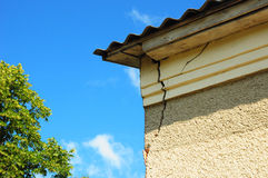 Architecture detail of damaged house corner dilapidated old house Royalty Free Stock Photography