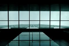 Top view glass roof with a high building in the city with a modern exterior stock photos