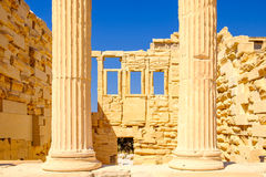 Architecture detail of Erechteion temple in Acropolis. Athens, Greece Royalty Free Stock Images