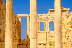 Architecture detail of Erechteion temple in Acropolis Stock Images