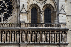 Architecture detail of front side cathedrale Notre Dame. Royalty Free Stock Image
