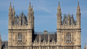 Architecture detail of London Westminster Palace towers UK Parliament. UHD 4K stock video