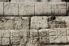 Architecture detail at Palenque ancient Maya site, Mexico. Palenque, also anciently known as Lakamha, was a Maya city state in southern Mexico that flourished in royalty free stock image