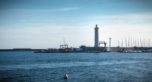Architecture detail of Port Saint Louis lighthouse of Sete, France stock photography