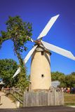 Architecture detail of the windmill still active. Saint Reverend, France - July 24, 2016 : architecture detail of the windmill still active on a summer day Royalty Free Stock Photo