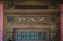 Architecture detail with word: PAX Royalty Free Stock Image