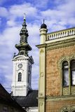 Architecture details of Bishops palace and Saint Georges cathedral. In Novi Sad, Serbia Royalty Free Stock Photography