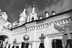 Architecture details of buildings of Moscow. The streets of Moscow historical buildings downtown Royalty Free Stock Photo