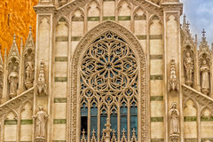 Architecture details of facade of Catholic Church in Rome, Italy Stock Photos