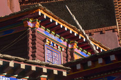 Architecture details of Kham. Typical details of a traditional house in Kham , eastern Tibet. Multi colors, wood, windows and stairs Stock Photography