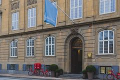 Architecture and details of the Nobis Hotel in Copenhagen city centre Stock Photo