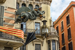 Architecture details at Placa Boqueria in Barcelona, Spain Royalty Free Stock Image