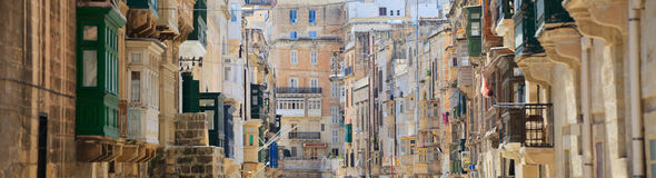 Architecture details of Valletta street. Traditional closed wooden balconies of Valletta city in Malta, Europe Stock Photo
