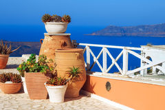 Architecture details with a view of the caldera in Fira village, Santorini Royalty Free Stock Images
