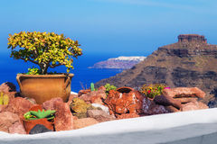 Architecture details with a view of the caldera in Fira village, Santorini Stock Image