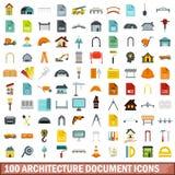 100 architecture document icons set, flat style. 100 architecture document icons set in flat style for any design vector illustration royalty free illustration