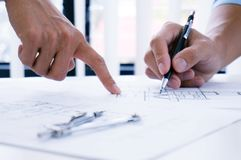 Architecture drawing on architectural project business architect Royalty Free Stock Images