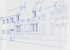 Architecture drawing of building facade Royalty Free Stock Photo