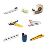 Architecture - drawing tools on white. Architecture drawing tools on white,consist of pencil,eraser,staple,tape,cutter,circle cutter,scale,cylinder grinder Stock Photos