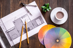 Architecture drawing and tools on wooden desk top view Royalty Free Stock Photo