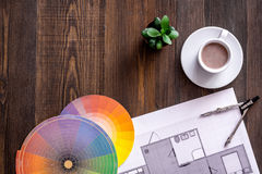 Architecture drawing and tools on wooden desk top view copyspace Stock Image