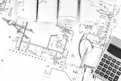 Construction plans in rolls Royalty Free Stock Image