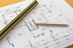 Architecture drawings with pencil and ruler Royalty Free Stock Photography