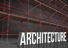 architecture du mot 3D devant l'échafaudage dans la chambre grise illustration libre de droits