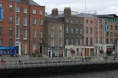 Architecture in Dublin, Ireland. Dublin is the capital and largest city of Ireland. Dublin is in the province of Leinster on Ireland, east coast, at the mouth of Royalty Free Stock Photography