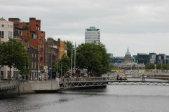 Architecture in Dublin, Ireland. Dublin is the capital and largest city of Ireland. Dublin is in the province of Leinster on Ireland, east coast, at the mouth of Royalty Free Stock Photo
