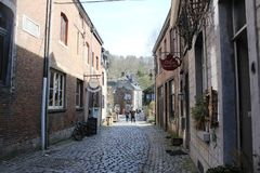 Architecture in Durbuy, Belgium. Narrow street, building with windows. Durbuy is a Walloon city and municipality located in the Belgian province of Luxembourg royalty free stock photo