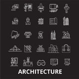 Architecture editable line icons vector set on black background. Architecture white outline illustrations, signs. Symbols stock illustration