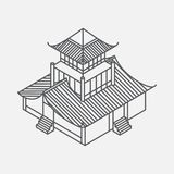 Architecture element in Oriental style. Outline Isometric Pagoda house. Chinese and japanese landmark Stock Photography