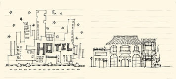 Architecture elevation of hotels street, shops, restaurant and a. Partment illustration Royalty Free Stock Photo