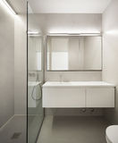 Architecture, empty bathroom. In cement of new apartment Stock Photos