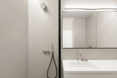 Architecture, empty bathroom. In cement of new apartment Royalty Free Stock Images
