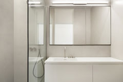 Architecture, empty bathroom. In cement of new apartment Stock Image