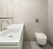 Architecture, empty bathroom. In cement of new apartment stock photo