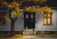 Architecture en bois Vue de rue de Roros photographie stock