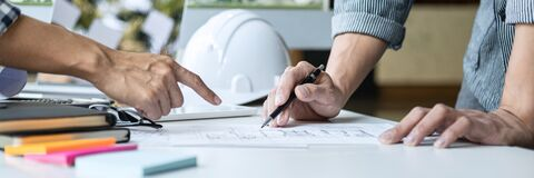 Free Architecture Engineer Teamwork Meeting, Drawing And Working For Architectural Project And Engineering Tools On Workplace, Concept Stock Image - 187215551