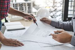 Architecture Engineer Teamwork Meeting, Drawing and working for. Architectural project and engineering tools on workplace, concept of worksite on technical royalty free stock image