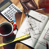 Architecture Engineering Design Sketch Table Concept Stock Photo