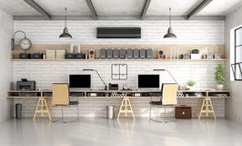 Architecture or engineering office in industrial style. Architecture or engineering workplace office with two workstation in a loft- 3d rendering Stock Photos