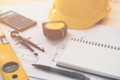Architecture, engineering plans and drawing equipment. For a new building Royalty Free Stock Photography