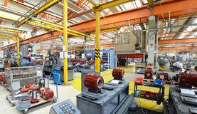 Architecture and equipment of a factory for mechanical engineering: assembly of electric motors stock photo