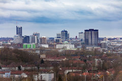 Architecture of Essen NRW Germany city center. High rise buildings form the skyline of inner city of Essen, North Rhine-westphalia, Germany, Europe royalty free stock photography