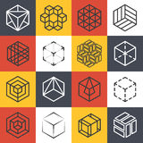 Architecture et studios ou ligne intérieurs d'entreprise de construction calibres de logo avec les cubes 3D isométriques Photographie stock libre de droits